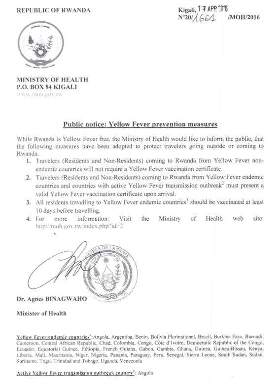 Public Notice Yellow Fever Prevention Measures The